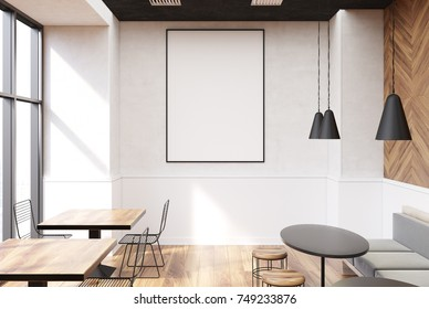 Vertical framed poster on a cafe wall. Large windows, white and wooden walls and round tables with sofas and stools. 3d rendering mock up