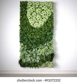 Vertical garden, interior design, 3D illustration