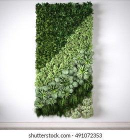 Vertical garden, interior design, 3D illustration