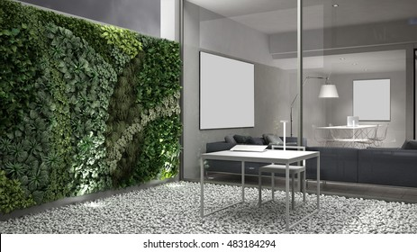 Vertical gardening, office courtyard, 3d illustration