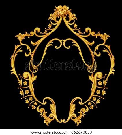 vertical golden baroque frame stock illustration 662670853