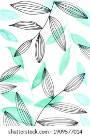 Vertical green leafs pattern watercolor illustration