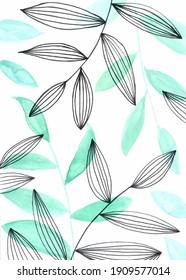Illustration à l'aquarelle du motif de feuilles vertes