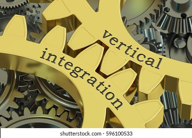 vertical integration concept on the gearwheels, 3D rendering