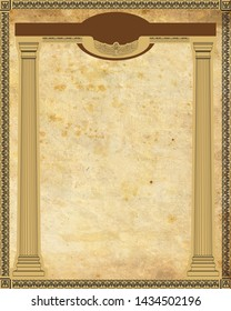 vertical layout. Egyptian style. arch, colonnade. frame with a decorative pattern. Aged, beige, monophonic background.