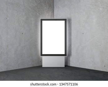 Vertical lightbox display stand Mockup, advertising street stand indoors, 3d rendering