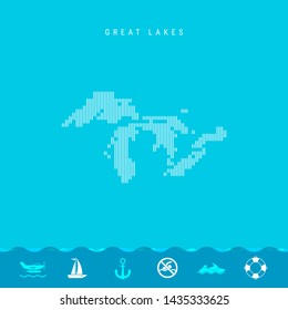 Vertical Lines Pattern Map of all Great Lakes, One of the Lakes of North America. Striped Simple Silhouette of all Great Lakes. Lifeguard, Watercraft Icons.