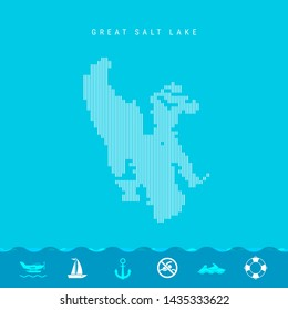 Vertical Lines Pattern Map of Great Salt Lake, One of the Lakes of North America. Striped Simple Silhouette of Great Salt Lake. Lifeguard, Watercraft Icons.