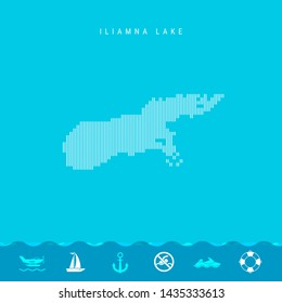 Vertical Lines Pattern Map of Iliamna Lake, One of the Lakes of North America. Striped Simple Silhouette of Iliamna Lake. Lifeguard, Watercraft Icons.