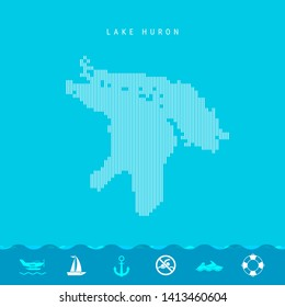 Vertical Lines Pattern Map of Lake Huron, One of the Five Great Lakes of North America. Striped Simple Silhouette of Lake Huron. Lifeguard, Watercraft Icons.