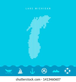 Vertical Lines Pattern Map of Lake Michigan, One of the Five Great Lakes of North America. Striped Simple Silhouette of Lake Michigan. Lifeguard, Watercraft Icons.