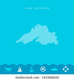 Vertical Lines Pattern Map of Lake Superior, One of the Five Great Lakes of North America. Striped Simple Silhouette of Lake Superior. Lifeguard, Watercraft Icons.