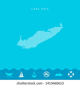 Vertical Lines Pattern Map of Lake Erie, One of the Five Great Lakes of North America. Striped Simple Silhouette of Lake Erie. Lifeguard, Watercraft Icons.