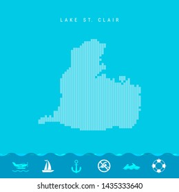 Vertical Lines Pattern Map of Lake St. Clair, One of the Lakes of North America. Striped Simple Silhouette of Lake St. Clair. Lifeguard, Watercraft Icons.
