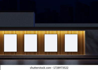 Vertical mock up poster gallery hanging on wooden and stone building wall at night. Concept of advertising. 3d rendering