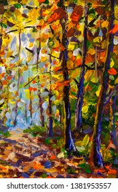 Vertical painting Forest wood trees in autumn landscape - oil painting on canvas background park nature art