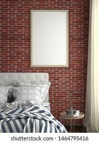 Vertical poster frame mock up on red brick wall in bedroom. 3d illustration