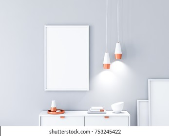 Vertical poster Frame Mockup for your art hanging on the wall in modern interior with two lamps and decor. 3d rendering
