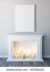 Vertical poster mock up in neutral white interior with candle fireplace. 3D rendering.