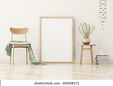 Vertical poster mock up with wooden frame on the wall in living room interior. 3D rendering.