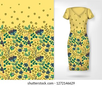 Vertical seamless fashion background. Women's long dress mock up with bright seamless hand drawn pattern for textile, paper print. Isolated light yellow dress with floral pattern.