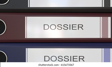 Vertical stack of multicolor office binders with Dossier tags 3D rendering
