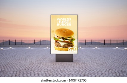vertical street burger poster billboard on the city at evening 3d rendering mockup