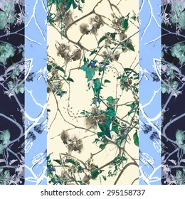 Vertical stripes beauty nature floral pattern design design in cold and white tones.