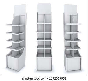 Vertical trading display of cardboard with shelves, empty. 3d illustration