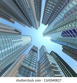 Vertical view of modern skyscrapers in business district against blue sky. 3d illustration