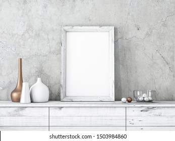 Vertical White Wooden Frame poster Mockup standing on cabinet, 3d rendering