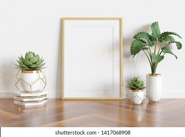 Vertical wooden frame leaning in bright white interior with plants and decorations mockup 3D rendering