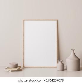 Vertical wooden frame mock up. Wooden frame poster, and simple vase on beige wall. 3D render, 3D illustrations.