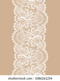 Vertically seamless beige background and lace border with floral pattern