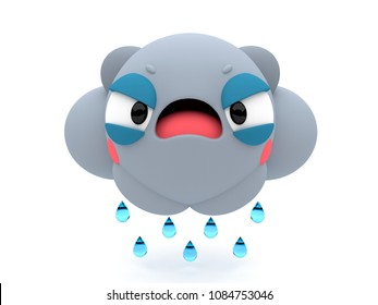 Very angry rainy cloud 3D cartoon character, grumpy looking like an emoji, on an isolated white background.