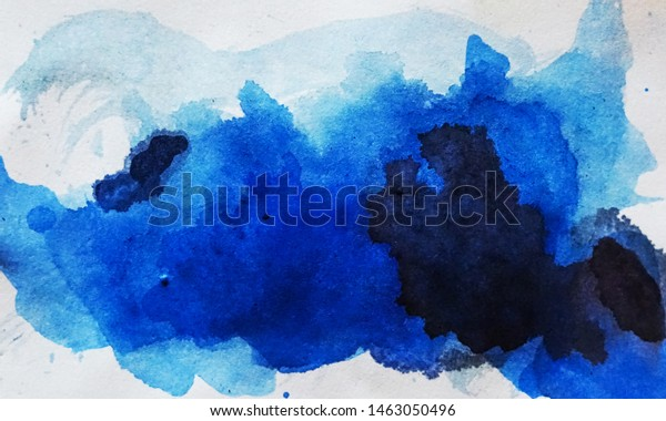 Very Beautiful Aesthetic Blue Abstract Watercolor Stock