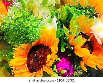 Very Beautiful Watercolor Bouquet of assorted flowers