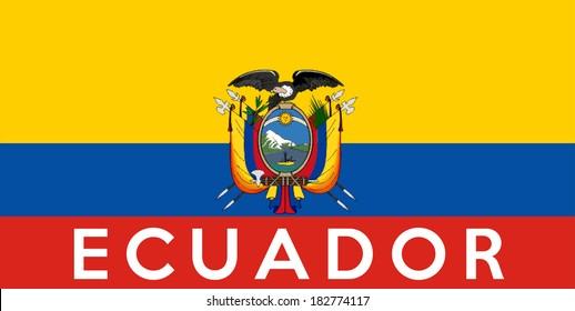 very big size illustration country flag of ecuador