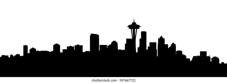 very big size seattle city skyline silhouette