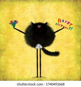 A very cute birthday card: the funny long legged black cat holding a bunch of field flowers.