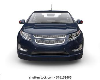 Very dark blue modern electric car - front view closeup - 3D Render