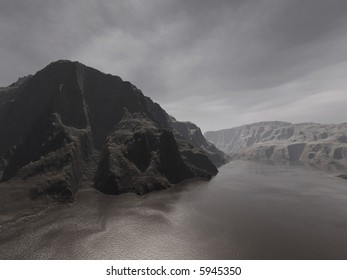 very dark rocky cliffs in a dreary light and mood