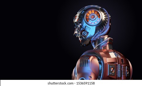 Very detailed futuristic robot man or red humanoid cyborg with metallic skull head. Side back view isolated on black background with free copy space for text. 3d render