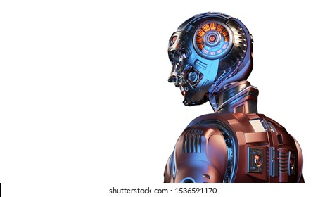 Very detailed futuristic robot man or red humanoid cyborg with metallic skull head. Side back view isolated on white background with free copy space for text. 3d render