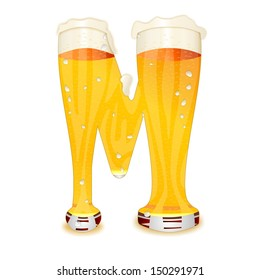 Very detailed illustration of a Beer Alphabet capital or uppercase font on white background showing a filled crystal glass with the letter M shape and some foam  Drops, pearls, bubbles