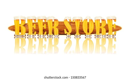 Very detailed illustration of the words BEER STORE designed from a Beer Alphabet font on white background showing filled crystal glasses with letter shape. Letters as single purchase available.