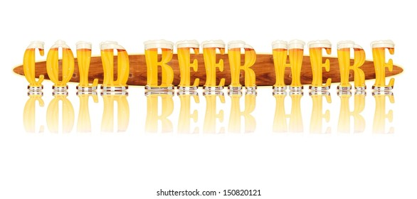 Very detailed illustration of the words COLD BEER HERE designed from a Beer Alphabet capital or uppercase font showing filled crystal glasses with letter shape. Letters as single purchase available.