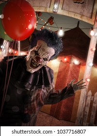 Very eagerly inviting clown welcoming you to the circus entrance .3d rendering