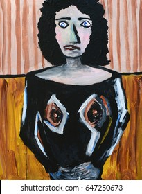 Very Fun Abstract figurative painting of a Brunette Woman