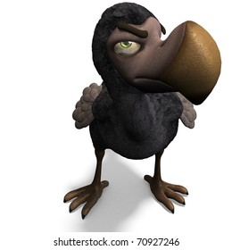 very funny toon Dodo-bird. 3D rendering with clipping path and shadow over white